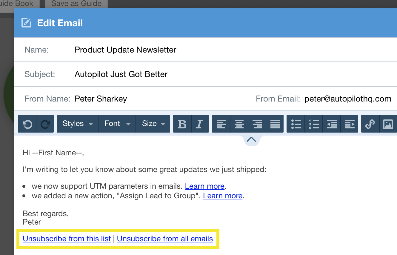 add list specific subscribe or unsubscribe links to your emails home